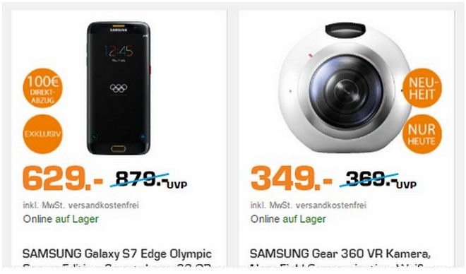 Saturn Super Sunday Angebote vom 21.8.2016, u.a. mit Samsung Galaxy S7 edge Olympic Games Edition für 629 €