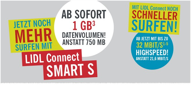 LIDL CONNECT Smart S: 1GB Internet-Flat, 300 Minuten / SMS, 7,99 €