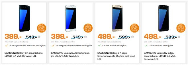 Saturn Super Sunday am 21.5.2017 mit Samsung Galaxy S7 und Samsung Galaxy S7 edge
