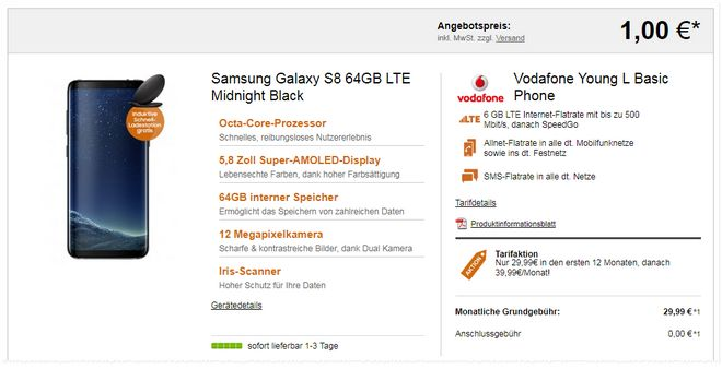 Vodafone Young L + Galaxy S8 für 1 €